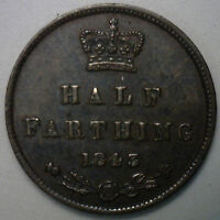 1843 COPPER 1/2 FARTHING GREAT BRITAIN UK COIN XF