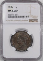 1820 CORONET HEAD LARGE CENT NGC MS 64 BN PREMIUM QUALITY FROM THE REEDED EDGE