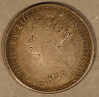 1860 GREAT BRITAIN GOTHIC FLORIN SILVER ATTRACTIVE         FREE US SHIPPING