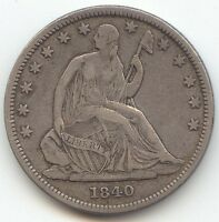 1840 SEATED LIBERTY HALF DOLLAR ORIGINAL XF