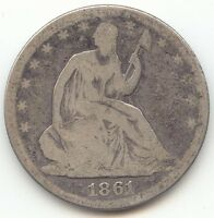 1861 SEATED LIBERTY HALF DOLLAR CIVIL WAR DATE OVERALL GOOD