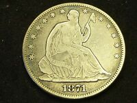 1871  SEATED  LIBERTY  HALF  DOLLAR  FINE