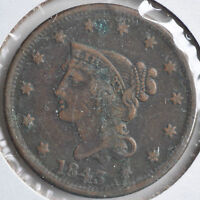 1843 1C BRAIDED HAIR LARGE CENT EARLY COPPER ORIGINAL CIRCULATED FINE