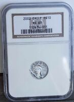 2002 LADY LIBERTY PLATINUM EAGLE $10 1/10 OZ .9999 PURE GRADED NGC MS69