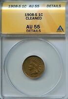 1908 S 1C ANACS AU55 DETAILS ALMOST ABOUT UNCIRCULATED INDIAN HEAD CENT