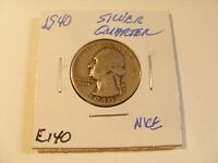 VERY NICE 1940  SILVER WASHINGTO QUARTER  CHECK OUT THE PICTURES  E140
