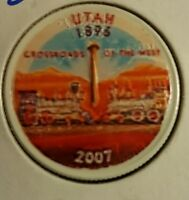 2007 P UTAH COLORIZED STATE QUARTER  WHITE BACKGROUND