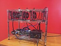 CRYPTO COIN MINING RIG 4X GTX1070 8GB 120 MH/S ETH ETHEREUM 1700 SOL/S ZEC ZCASH