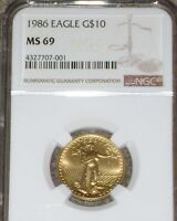 1986 $10 GOLD EAGLE NGC MS69