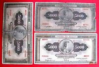 GREECE  GREEK BANKNOTE 5000 DRACHMA 1932 LOT OF 3