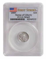 2005   $10 1/10OZ PLATINUM AMERICAN EAGLE MS69 PCGS FS FLAG