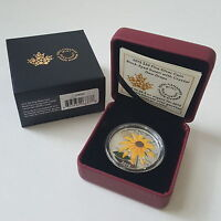 2015 $20 FINE SILVER COIN BLACK EYED SUSAN WITH CRYSTAL DEW DROPS
