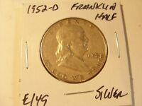 VERY NICE 1952 D SILVER FRANKLIN HALF DOLLAR CHECK OUT THE PICTURES E149