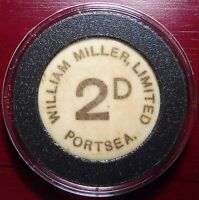 WILLIAM MILLER LTD PORTSEA 2 PENCE TOKEN MADE OF BONE