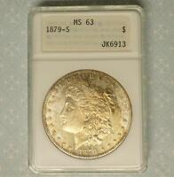 1879 S ANA MINT STATE 63 MORGAN SILVER DOLLAR IN OFFICIAL 1ST GEN ANA SLAB, SEMI PL