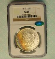 1879 S NGC & CAC CERTIFIED GEM MINT STATE 66 MORGAN SILVER DOLLAR,  OBV COLOR TONE