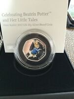 PETER RABBIT SILVER 50P COIN 2017 BLACK BOX VERSION SILVER PROOF COLOURED