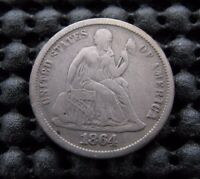 SUPER NICE 1864 S SEATED DIME