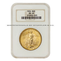 1924 $20 SAINT GAUDENS NGC MS64 PHILADELPHIA MINT GOLD DOUBLE EAGLE CHOICE COIN