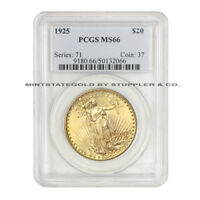 1925 $20 SAINT GAUDENS PCGS MS66 UNCIRCULATED GEM GOLD DOUBLE EAGLE COINSTATS