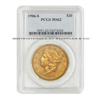 1906 S $20 LIBERTY PCGS MS62 SAN FRANCISCO CHOICE GRADED GOLD DOUBLE EAGLE COIN