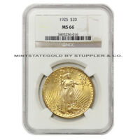1925 $20 SAINT GAUDENS NGC MS66 GEM GRADE GOLD DOUBLE EAGLE COINSTATS BEST VALUE