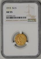 1915  $2.5 GOLD INDIAN NGC  CERTIFIED AU55    2727995 010