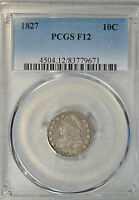 1827 CAPPED BUST DIME, LARGE SIZE, PCGS F12