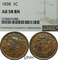 1838 1C CORONET LARGE CENT NGC AU58 BN  OLD TYPE COIN PENNY GREAT LUSTER