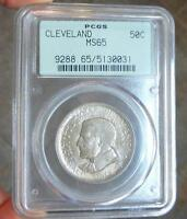 1936 PCGS MINT STATE 65 CLEVELAND SILVER HALF DOLLAR, MOSES CLEAVELAND 3.5 PCGS SLAB