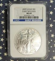 2009 NGC MINT STATE 69 EARLY RELEASE AMERICAN SILVER EAGLE, 1OZ .999 FINE SILVER GEM $1