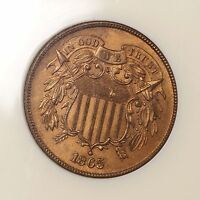 1865 TWO CENT PIECE 2C NGC CERTIFIED MINT STATE 64 RD RED COPPER US MINTED 2 CENT COIN