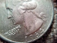 1964 SILVER WASHINGTON QUARTER WITH ANGRY GEORGE VARIETY