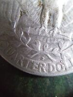 1956 D WASHINGTON SILVER QUARTER WITH REVERSE LAMINATION DAMAGE
