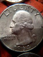1964 DEFECT VARIETY SILVER WASHINGTON QUARTER WITH BIRD POO ON FOREHEAD