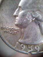 1959 D WASHINGTON QUARTER WITH MIS SHAPENED EAGLE HEAD ERROR VARIETY