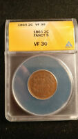 1865 TWO CENT PIECE, FANCY 5, TOUGHER COPPER DATE ANACS VF 30
