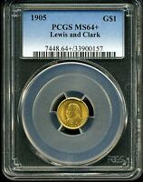 1905 G$1 LEWIS AND CLARK GOLD COMMEMORATIVE DOLLAR MINT STATE 64 PCGS 33900157