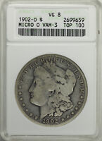 PAIR OF OLD WHITE ANACS SLABS: 1902 O VAM 3 MICRO O AND 1899 O VAM 6 MICRO O