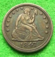 1847 SEATED LIBERTY SILVER QUARTER   XF PLUS   ORIGINAL SURFACES   HANDSOME COIN