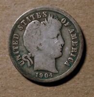 1904 S BARBER LIBERTY HEAD SILVER DIME 1904S US COIN