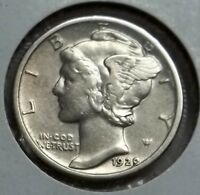 1929 P MERCURY DIME IN HIGHER GRADE. CLEANED BUT QUITE ATTRACTIVE LET'S DEAL