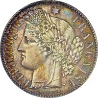 UNCIRCULATED FRANCE 1881 A 2 FRANC NGC MS63 TONED   TOUGH DATE