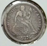 1876 CC SEATED DIME DECENT LOWER MID GRADE COIN. SILVER FROM THE COMSTOCK LODE