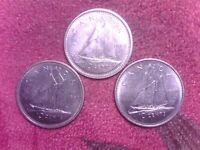 CANADA  10   CENTS    1969    1986   1989