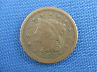 1851 U.S BRAIDED HAIR COPPER LARGE CENT COIN