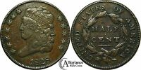 1828 1/2C CLASSIC HEAD HALF CENT 12 STARS  VARIETY OLD TYPE COIN MONEY