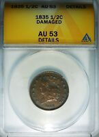 1835 1/2C CLASSIC HEAD HALF CENT ANACS AU53 DETAIL  OLD TYPE COIN MONEY