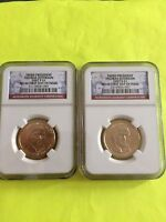 2007 JEFFERSON P&D NGC MINT STATE 66 FIRST DAY ISSUE CIRCULATION STRIKE 2-COIN DOLLAR SET