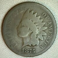 1875 INDIAN HEAD ONE CENT COIN GRADE GOOD UNITED STATES COPPER TYPE 1C M1